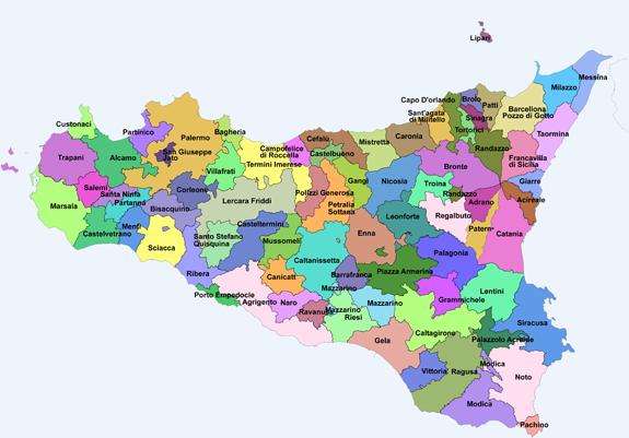 Cartina Sicilia Con Province.Sicilia